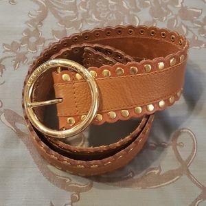 Michael Kors Genuine Leather Gold Studded Belt